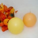 Kaarsen maken bolkaars in herfstkleuren